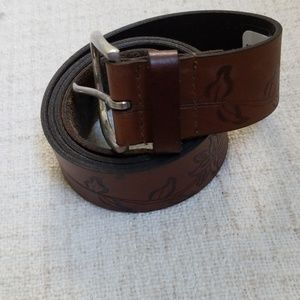 Dark Brown Floral Embossed Belt